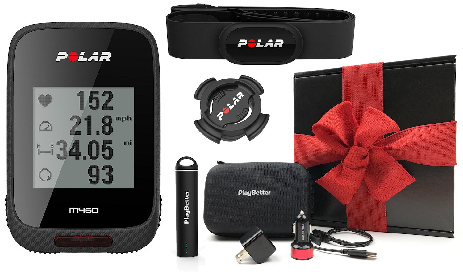 Polar M460 HRM Bundle GIFT BOX | Includes Polar Chest Strap HRM, PlayBetter Portable Charger, USB Car/Wall Adapters, Hard Carrying Case & Bike Mount | Strava Live Segments | Black Gift Box, Red Bow