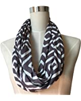 Pop Fashion Womens Geometric Pattern Infinity Scarf Wrap Scarf with White Zipper Pocket, Infinity Scarves