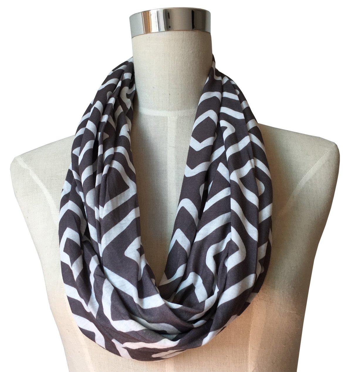 Womens Grey Infinity Scarf, Geometric Pattern Scarf, Zipper Scarf, Fashion Scarf, Infinity Scarves