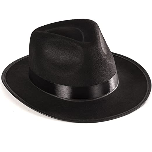 c0cca0f60f Funny Party Hats Black Gangster Hat - Black Fedora Hats - Costume Hats -  Costume Accessories