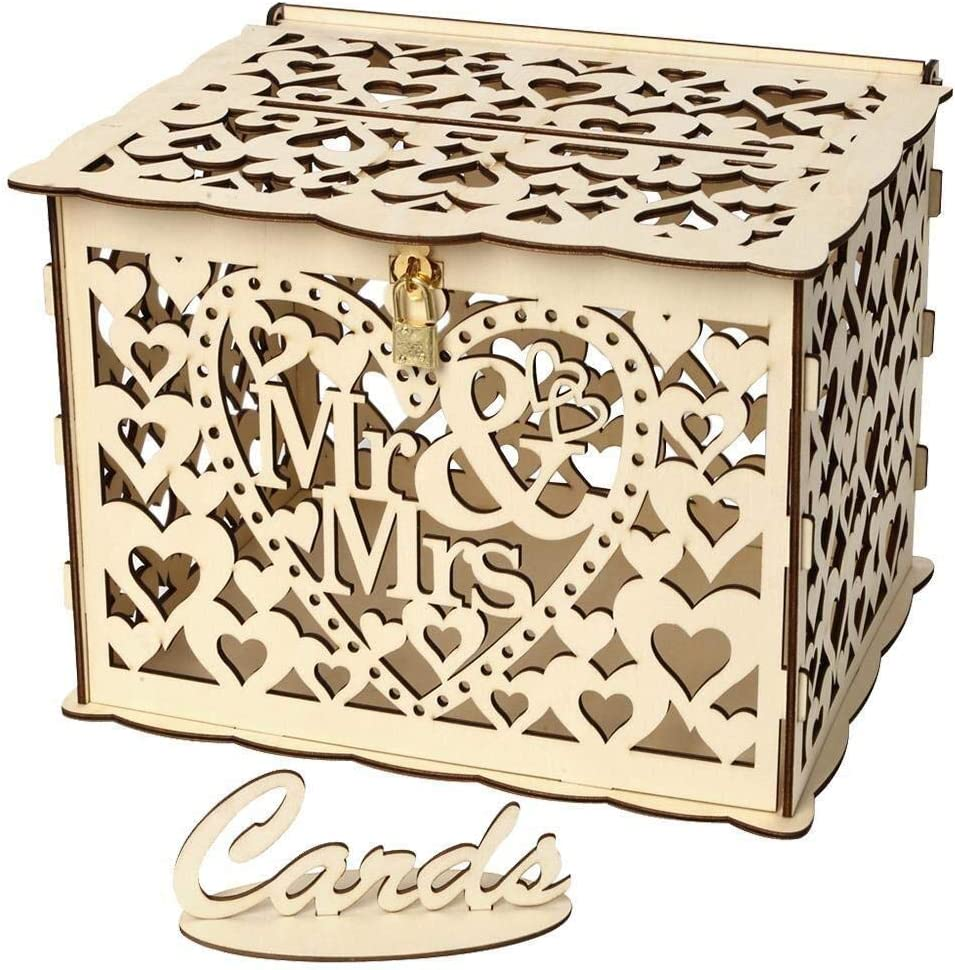 Caja de correos de tarjetas de boda de madera con cerradura y letrero de tarjeta Cajas de tarjetas de regalo huecas rústicas de bricolaje for cumpleaños de bodas Fiestas de Baby Shower (