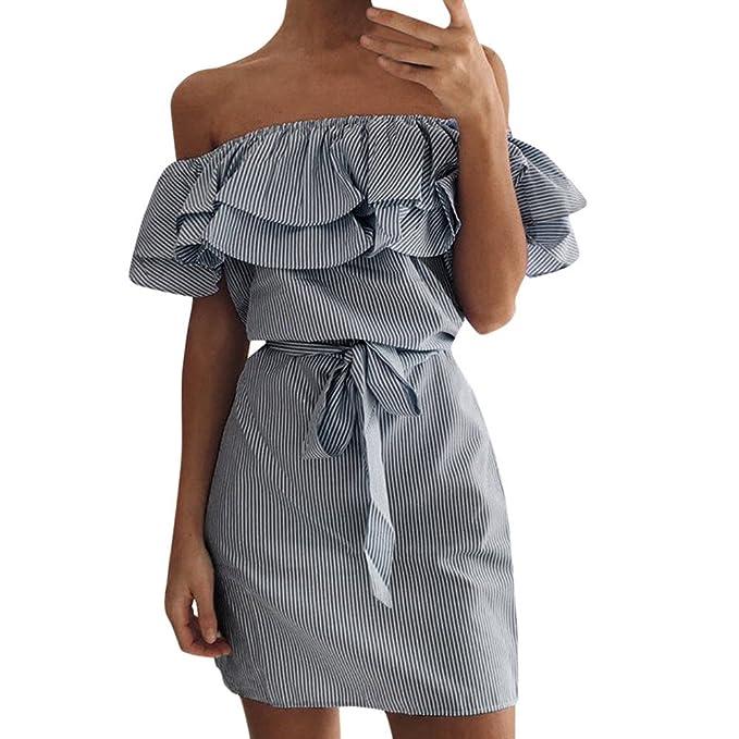 9f5ededf2 Conquro Vestido de cinturón de rayas fuera del hombro para mujer Vestido  con volantes Minifalda Cortos