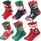 6 Pairs Adult Christmas Holiday Socks Warm Winter Cozy Socks Fuzzy Socks With Plus Size And Anti-Slip Bottom