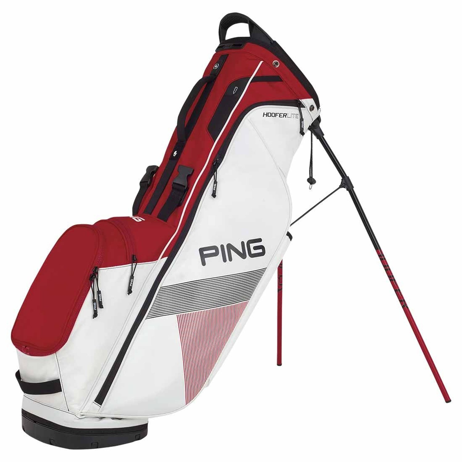 New Ping 2018 Hoofer Lite Golf Stand Bag (White / Red / Black)