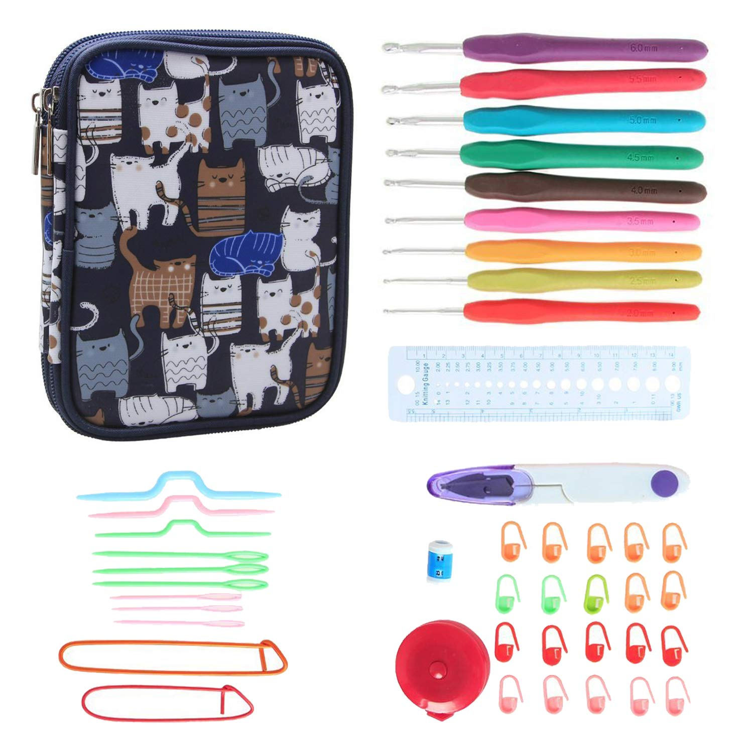 Teamoy Ergonomic Crochet Hooks Set, Knitting Needle Kit, Zipper Organizer Case With 9pcs 2mm to 6mm Soft Grip Crochets and Complete Accessories, Small Volume and Convenient to Carry, Flowers Blue Damai