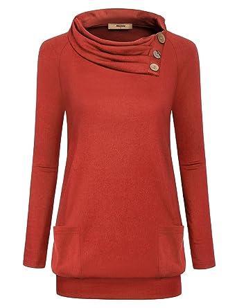 8d2b2cc5686b Miusey Womens Raglan Long Sleeve Cowl Neck Pullover Casual Tunic ...