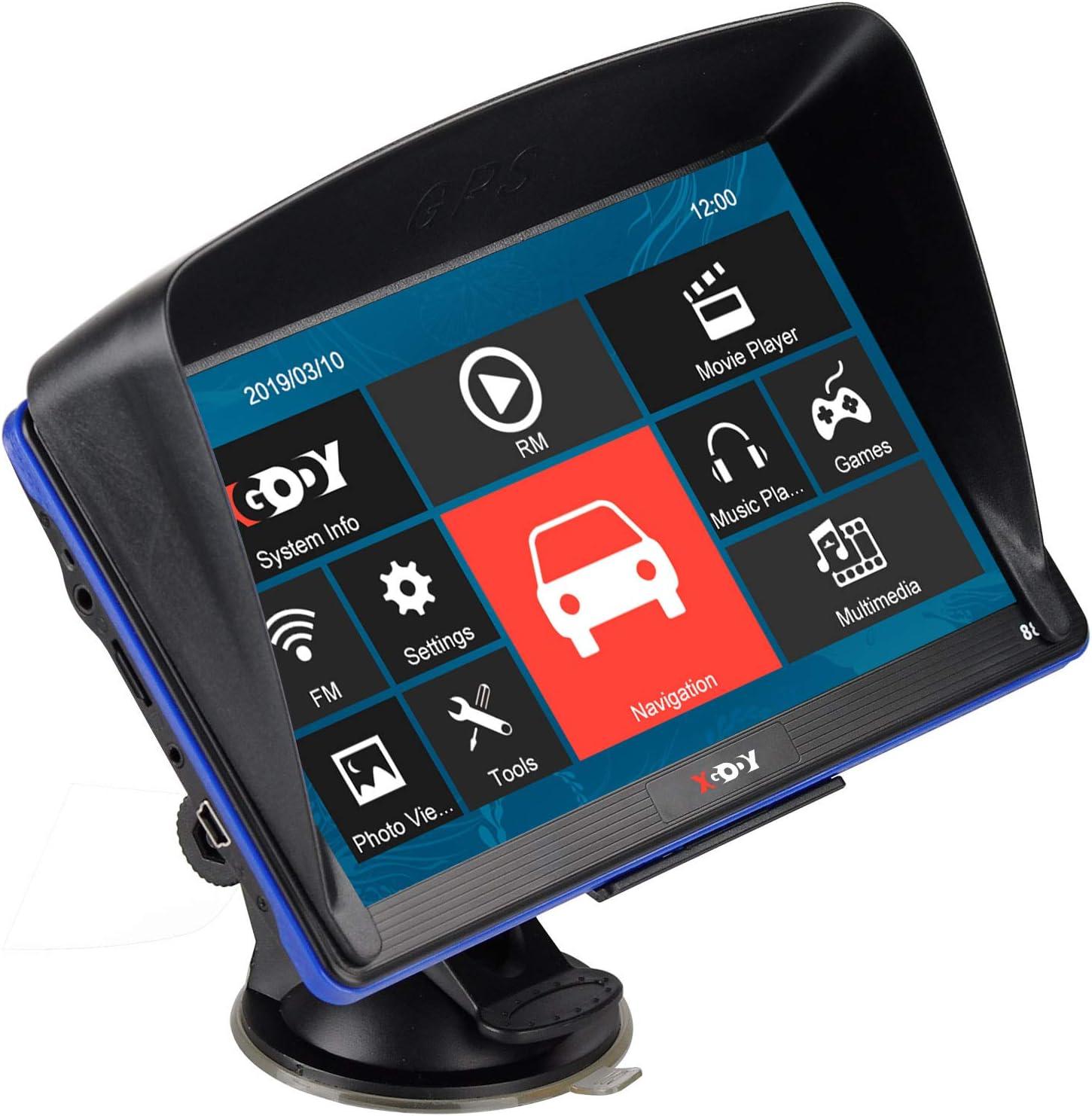 XGODY 7/'/' TRUCK CAR Navigation GPS Navigator SAT NAV 8GB US Map Reverse Camera