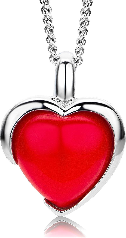 ByJoy Colgante de Plata de Ley 925 con Forma de corazón y Cadena de 45 cm para Mujer