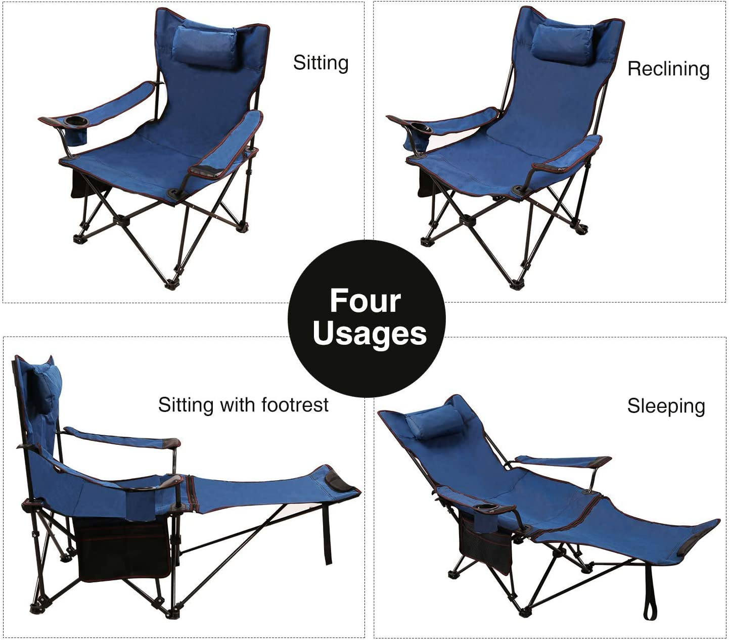 Stable Reclining Lounge Chair With Cup Holder,Portable Chair For Outdoor Activities,Folding Camping Chair With Footrest A