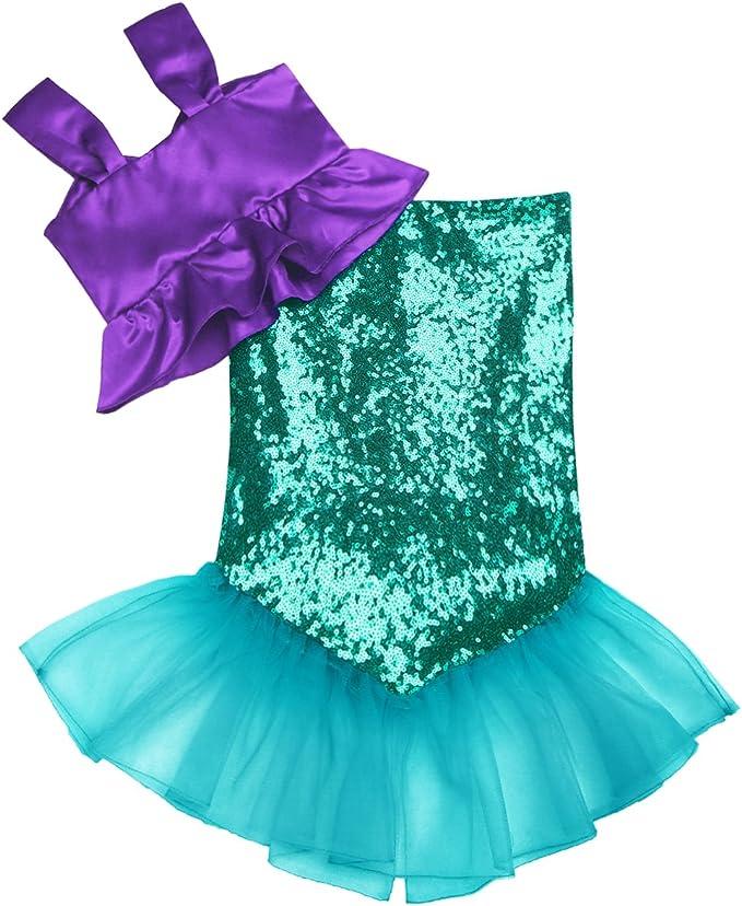 YOOJIA Disfraz de Sirenita para Niñas Bikini + Falda de Cola ...