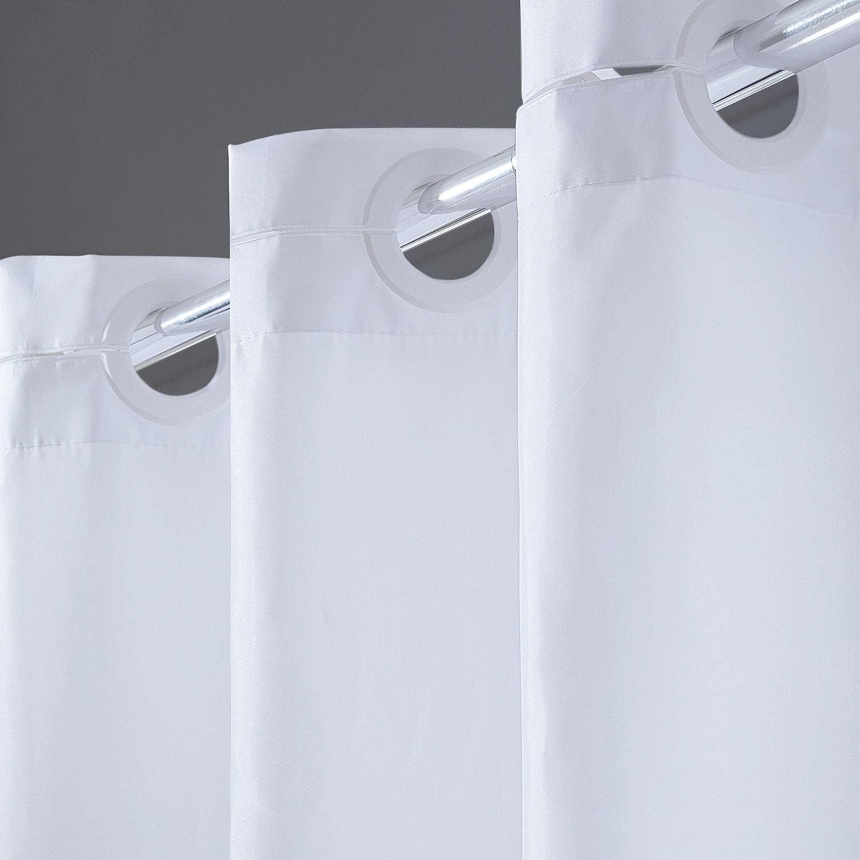 Cortina Ducha Pequeña Tela Antimoho, Poliéster Cortinas de Baño Decorativas Impermeable & Lavable,Blanco Duchas de Baño Cortinas con Ojales-180x200cm.: Amazon.es: Hogar