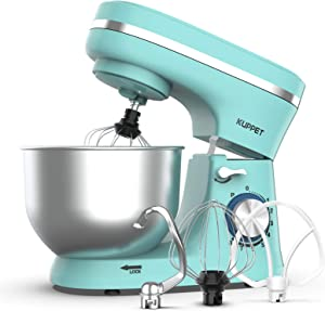 KUPPET Stand Mixer, 8-Speed Tilt-Head Electric Food Stand Mixer with Dough Hook, Wire Whip & Beater, Pouring Shield, 4.7QT Stainless Steel Bowl (Blue)