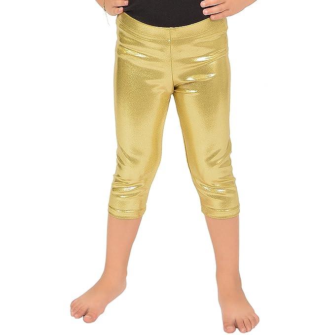 ad0409f1fa641 Stretch is Comfort Girl's Metallic Mystique Capri Leggings Gold Small