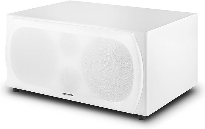 woofer da 25 cm, 250 Watt RMS, sistema bass reflex, amplificatore integrato, ingresso RCA bianco auna Linie-300-SW-WH subwoofer attivo