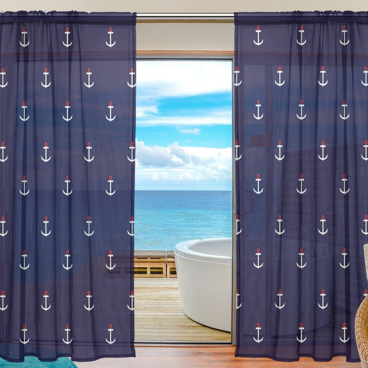 "ALAZA Sheer Window Curtains Voile Panels Abstract Nautical Anchor for Living Room Bedroom Kids Room Curtains Polyester 55""Wx78""L Per Panel Set of 2 Panels La Random"