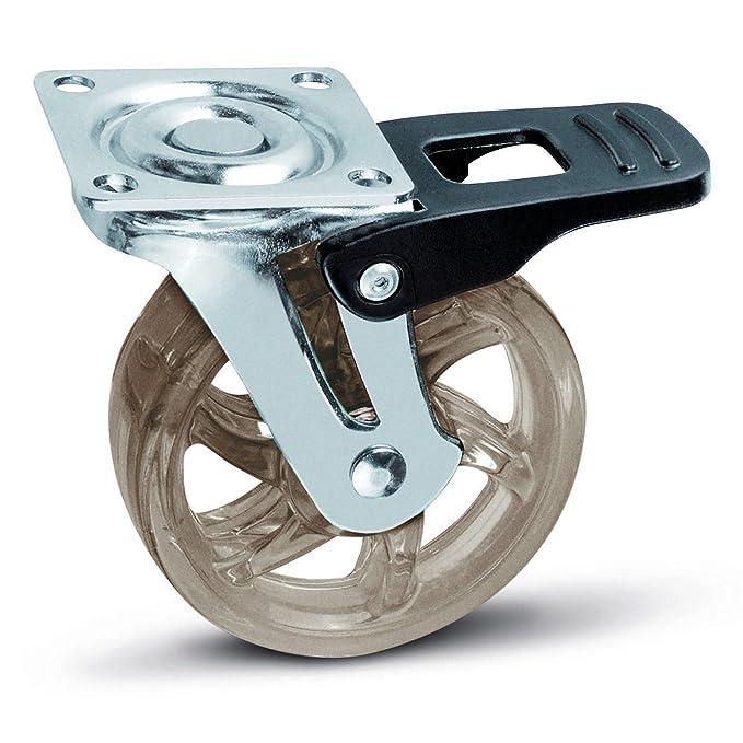 4 x SO-TECH® Rueda giratoria para Mueble Color Transparente Marrón Ø 75 mm: Amazon.es: Bricolaje y herramientas