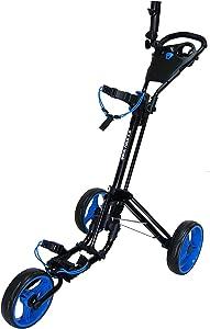 Qwik-Fold 3 Wheel Push Pull Golf CART - Foot Brake - ONE Second to Open & Close!