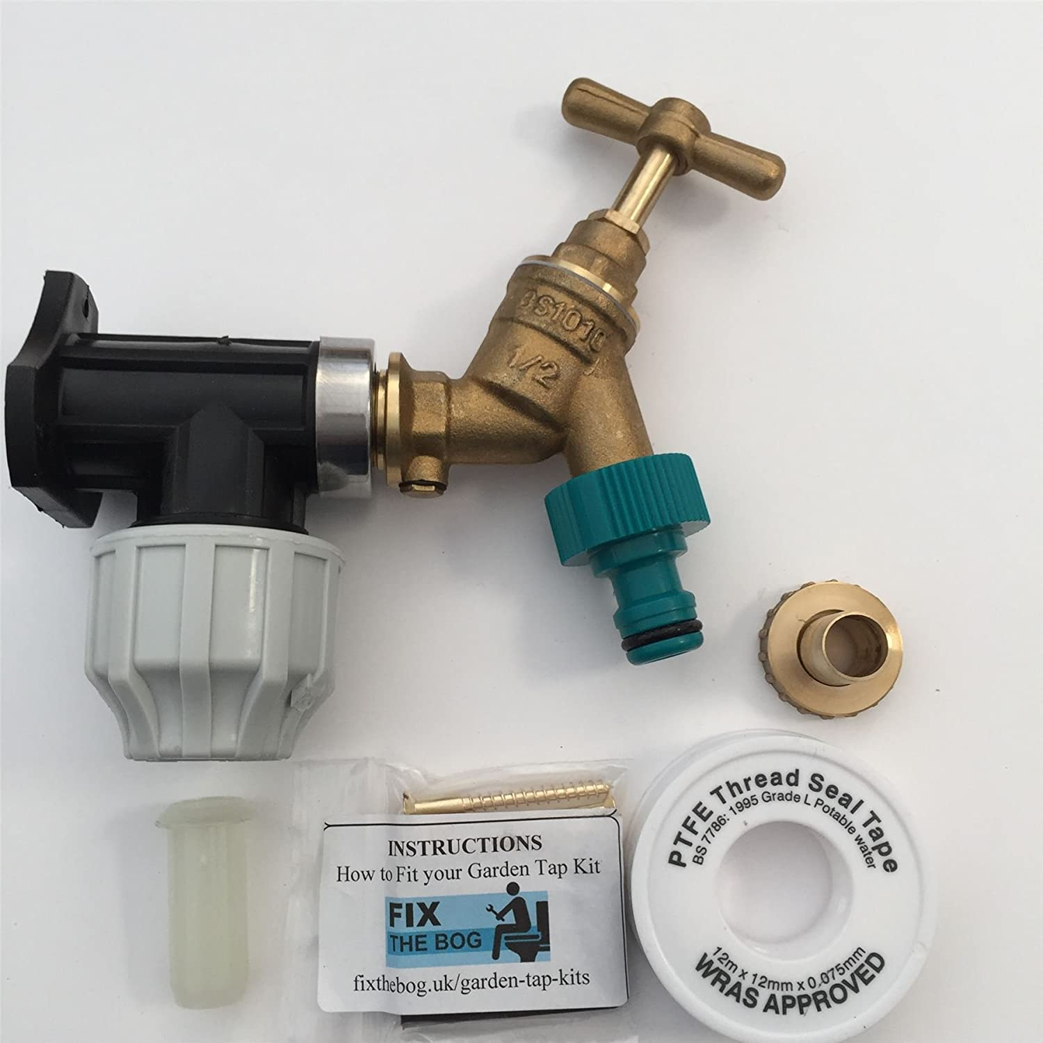 FixtheBog 20mm MDPE Outside Tap Kit With Plastic Wall Plate & Garden Hose Fitting DCV FixtheDrip