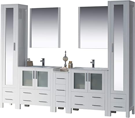 Amazon Com Blossom Sydney 102 Inches Double Sink Bathroom Vanity Side Cabinet 2 Linden Closets Ceramic Sink With Mirror All Wood Glossy White 001 102 01 Mlc Kitchen Dining