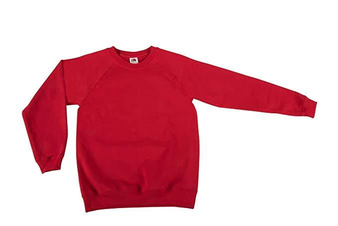 Fruit of the Loom Classic Felpa Raglan Kid-Sudadera con Capucha Niños Rojo (Red