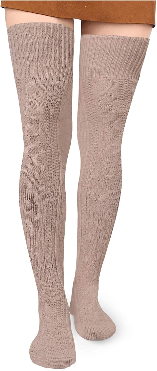 Women Winter Cable Knit Extra Long Boot Socks Over Knee Thigh High Warm Stocking