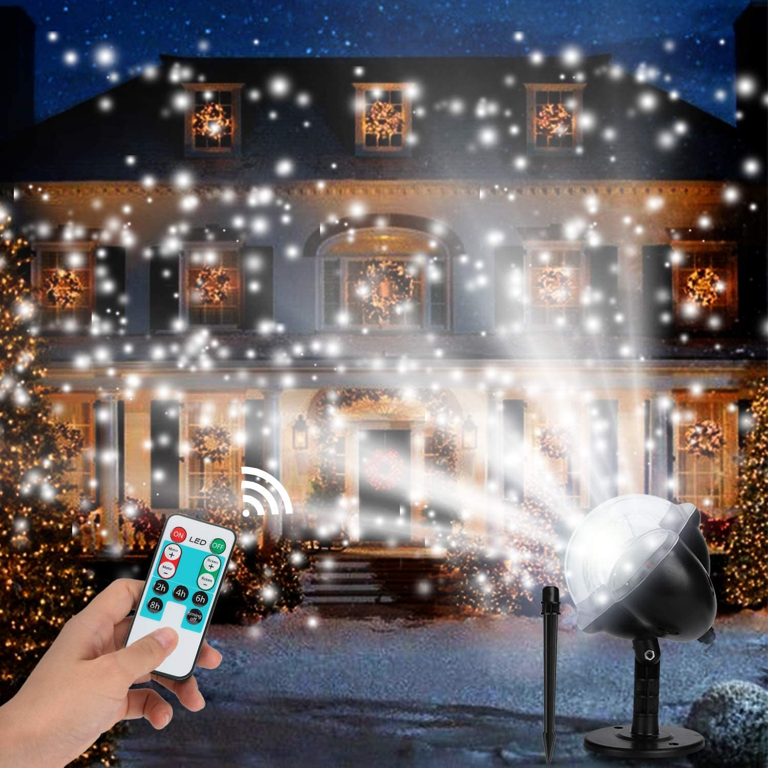 MUCH Christmas Projector Lights,Waterproof Decorative Lighting Projectors with RF Remote Control Snowfall Lamp,Outdoor Indoor Decor LED Snowflakes Projection Light for Birthday Party,Garden Xmas Yard