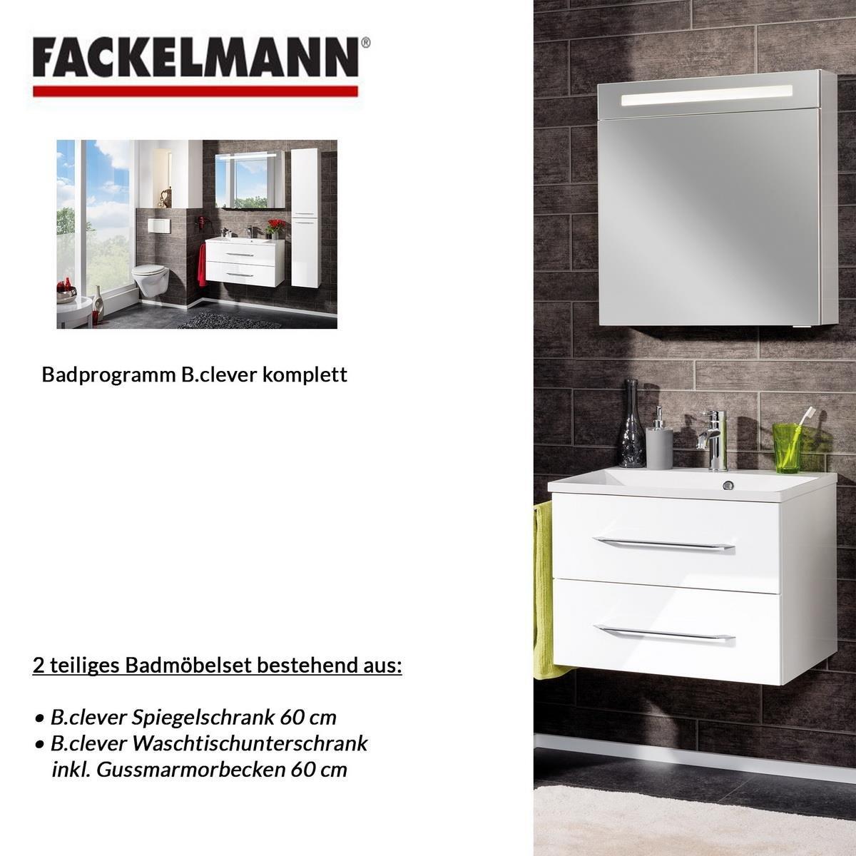 Fackelmann Badmöbel Set B.Clever 2-tlg. 60 cm weiß mit Waschtisch ...