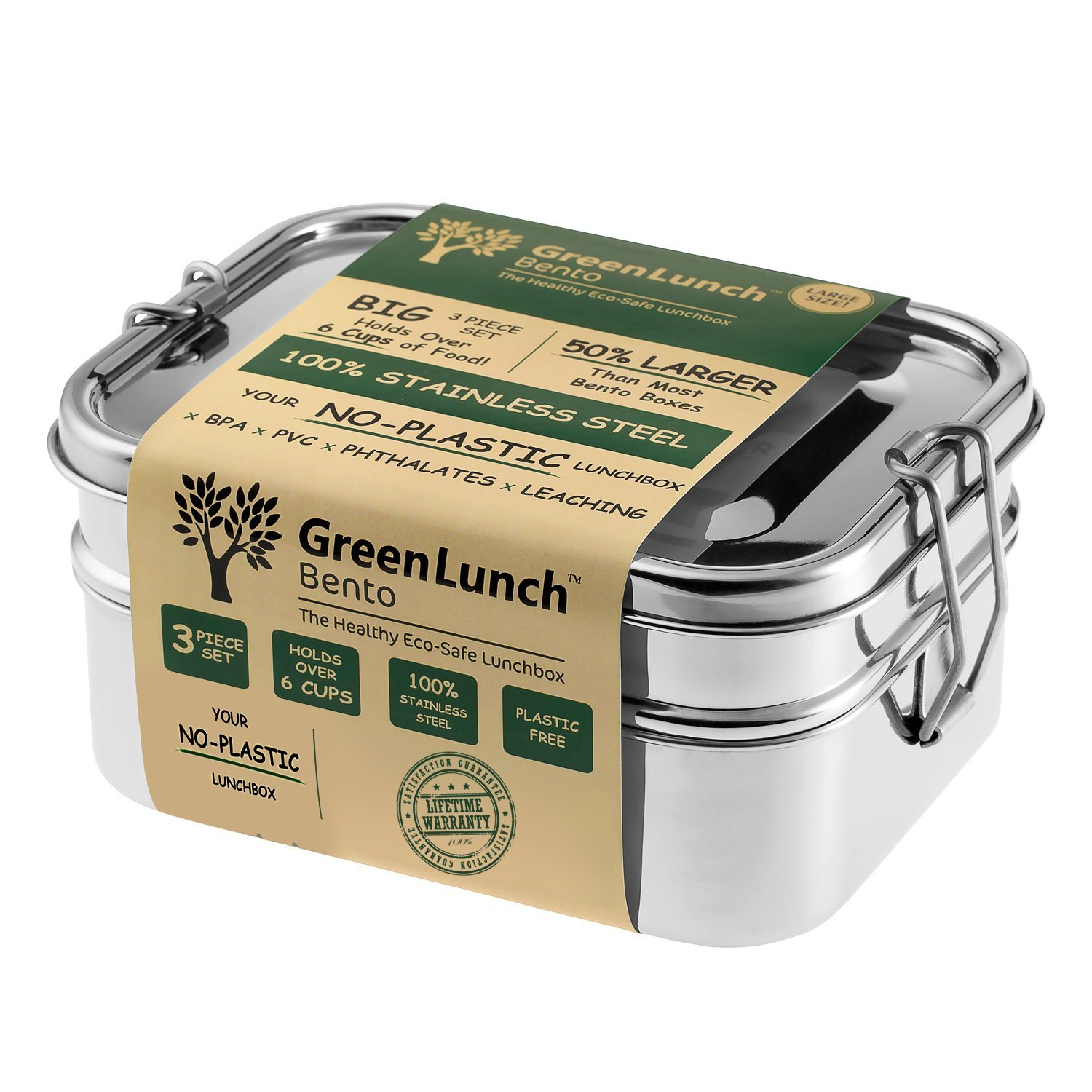 Stainless Steel 3-in-1 Bento Lunch Box + FREE LIFE-TIME WARRANTY | Holds 6 Cups of Food + BONUS Pod Insert | TOP-GRADE Durable Stainless Steel | ECO-Safe & Healthy | Perfect for both Kids + Adults