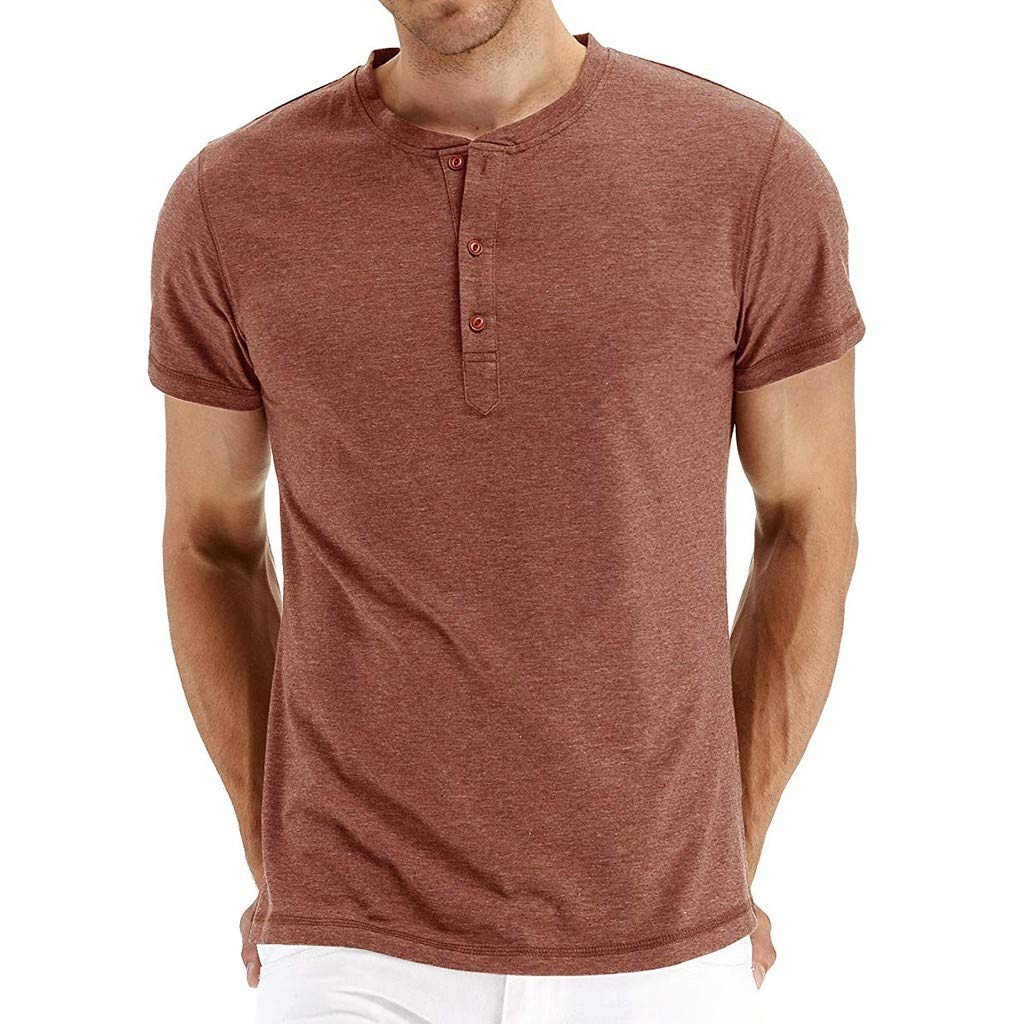Beautyfine Mens Fashion Basic Short Sleeve Henley T-Shirts Button Elastic Casual Short Sleeve