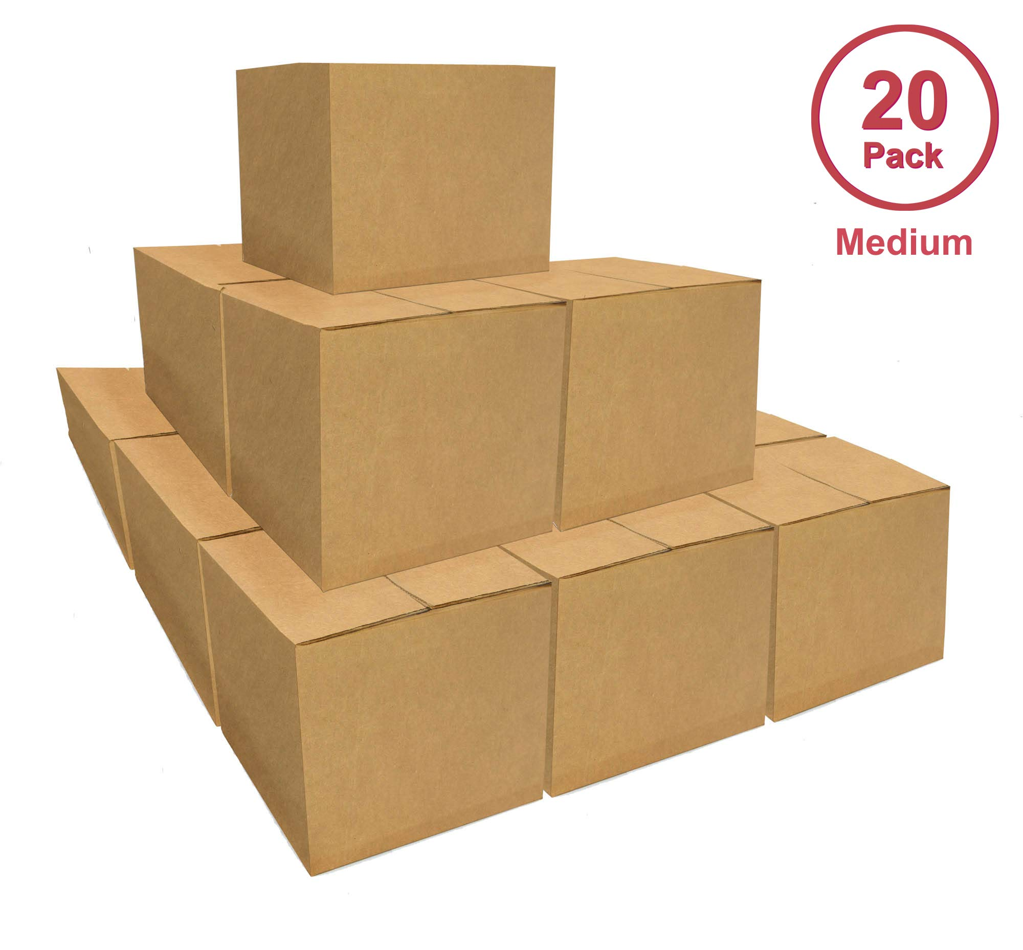 "Medium Size Corrugated Cardboard Boxes (20 Pack) 18"" x 14"" x 12"" Heavy-Duty Box Ideal for Moving, Storing, Shipping and Packing"