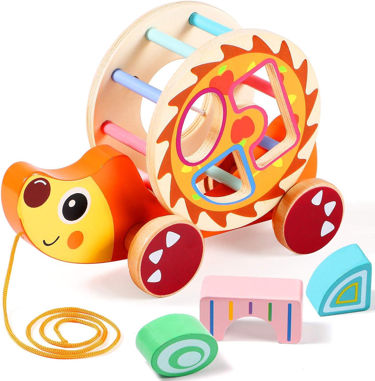 Lewo Tirar del Juguete con Clasificador de Formas Juguete de Madera para Jalar Tirar de un Juguete a lo Largo de Juguetes Educativos Camina un Juguete Largo para 1 Bebé de 2 Años Toddle