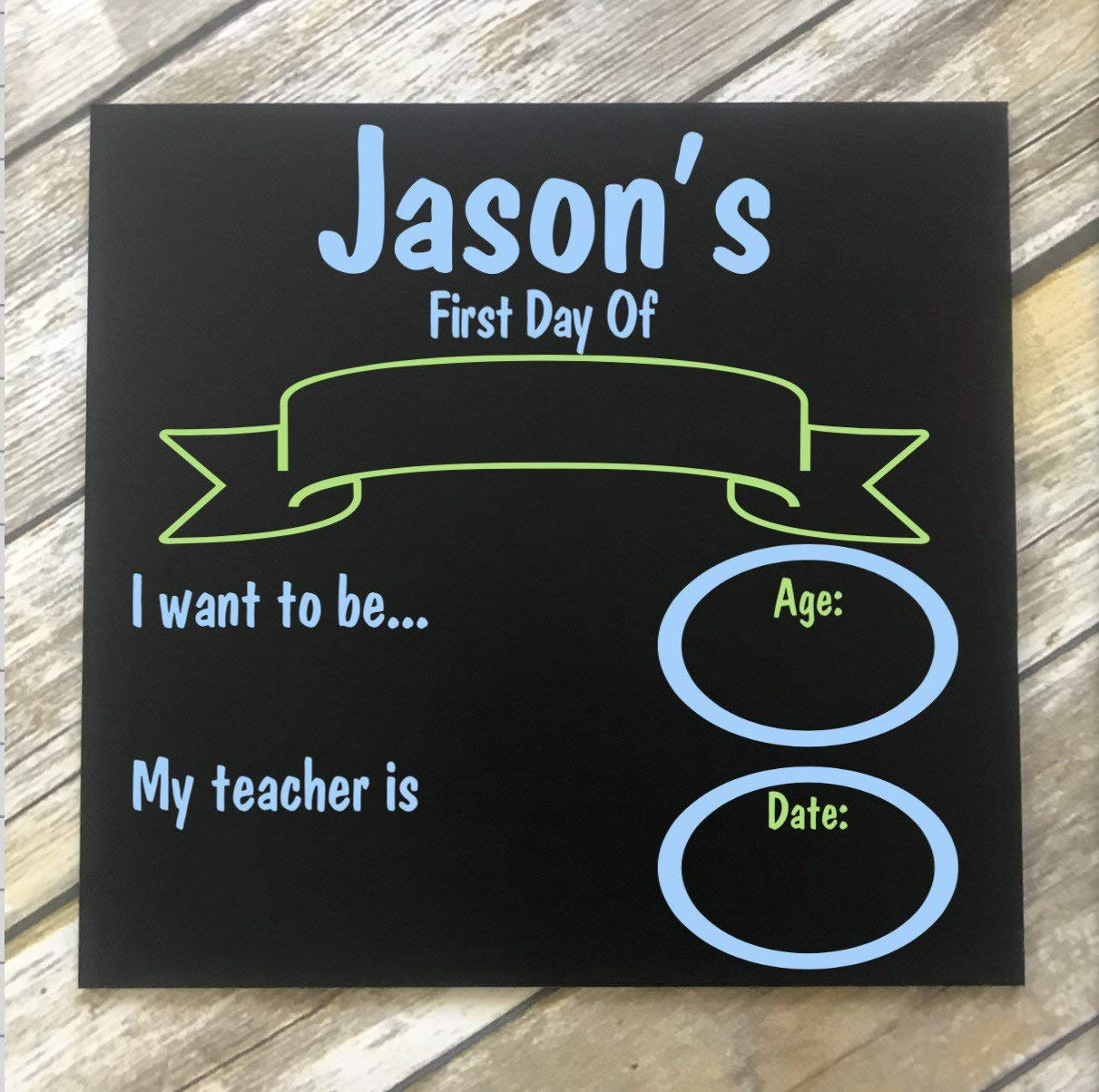 PotteLove Personalized First Day School Reusable Chalkboard Sign. 1st Day School. Back to School Chalkboard. Back to school