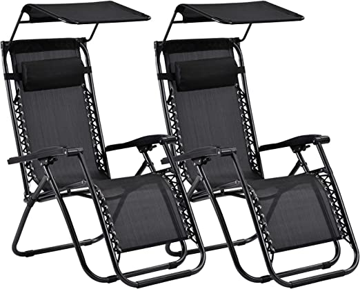 JTTVO - Juego de muebles de jardín, tumbonas reclinables, sillas de jardín al aire libre, gravedad cero con dosel (2 juegos): Amazon.es: Jardín
