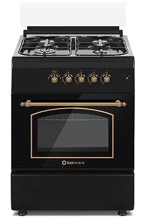 Cocina SolThermic F6S40G2I de Color Negro Rústico compuesta por 4 Quemadores y Horno Incorporado