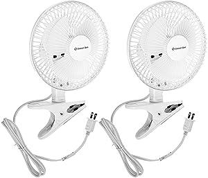 Comfort Zone CZ6C 6-Inch 2-Speed Clip-On Fan (White, 2 Fans)