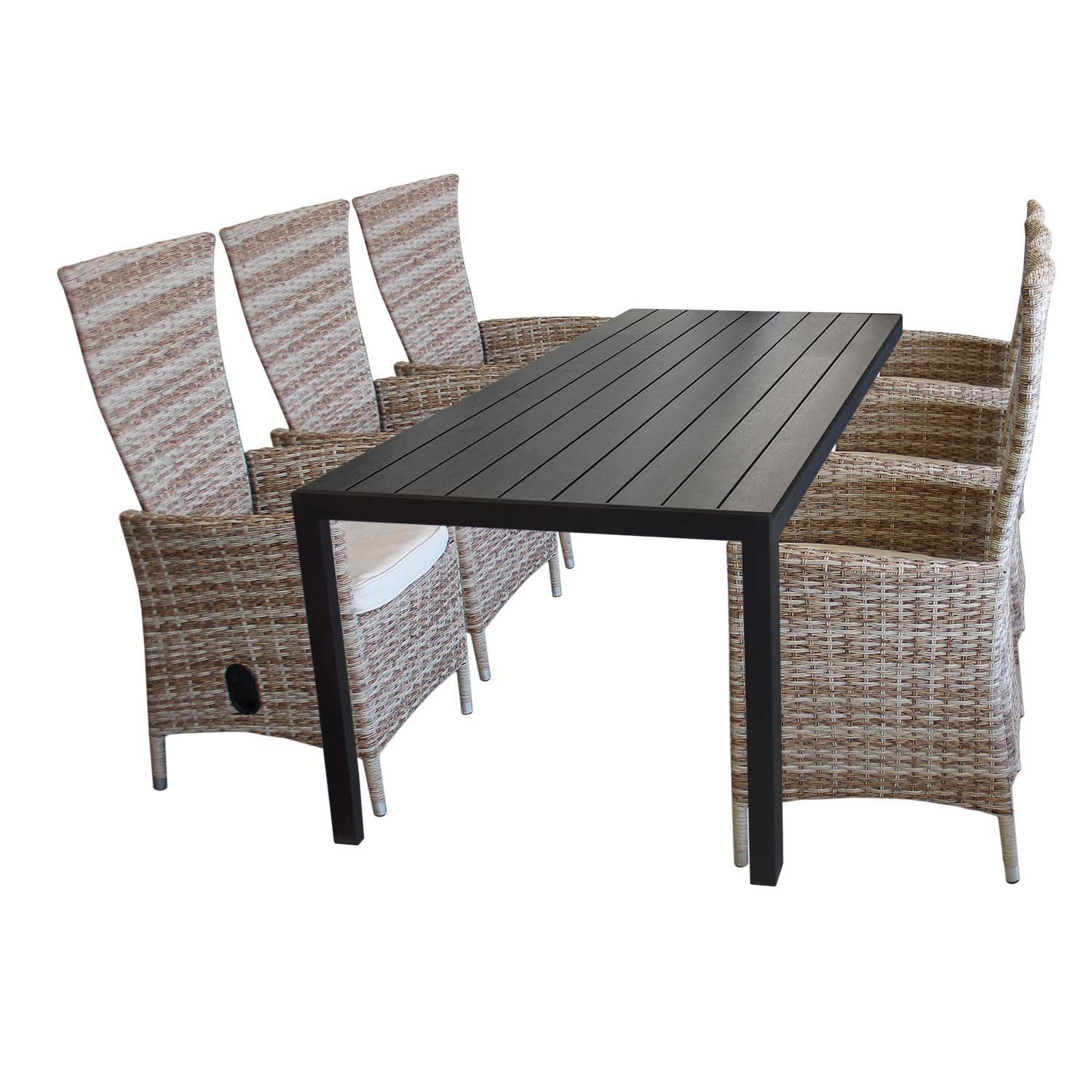 7tlg gartenm bel set aluminium polywood gartentisch 205x90cm 6x rattansessel polyrattan. Black Bedroom Furniture Sets. Home Design Ideas