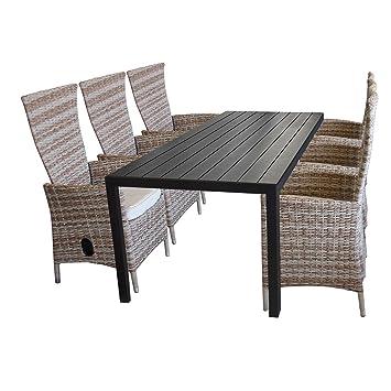 Amazon De 7tlg Gartenmobel Set Aluminium Polywood Gartentisch