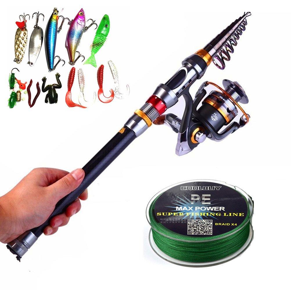 ECOOLBUY 4 Paquetes 2.1 m, 2.4 m, 3.0 m Caña de Pescar Telescópica y 11BB Reel & Lures & Line Set 99% Carbono Materiales Carp Fishing Rod Combo De Pesca (Señuelo y Línea Gratis) 1.8M/70.8in