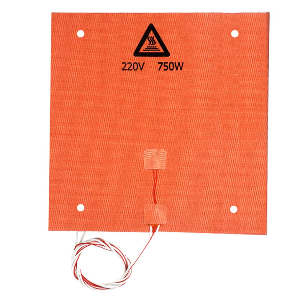 FYSETC 3D Printer Heated Bed Silicone Heat Mat 12 x12 in 220V 750W Hot Bed Plate Heating Heater for Creality CR-10 10S Pro CR-X MP Maker Pro TAZ Bed with Screw Holes 3M Adhesive NTC 100K Thermistor