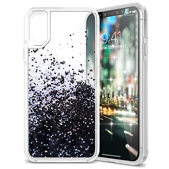 quality design 2e94c 3a76c iPhone X Case, CinoCase iPhone XS Liquid Case 3D Creative Bling Glitter  Moving Quicksand Love-Heart Design Transparent Sparkle Clear Soft TPU ...