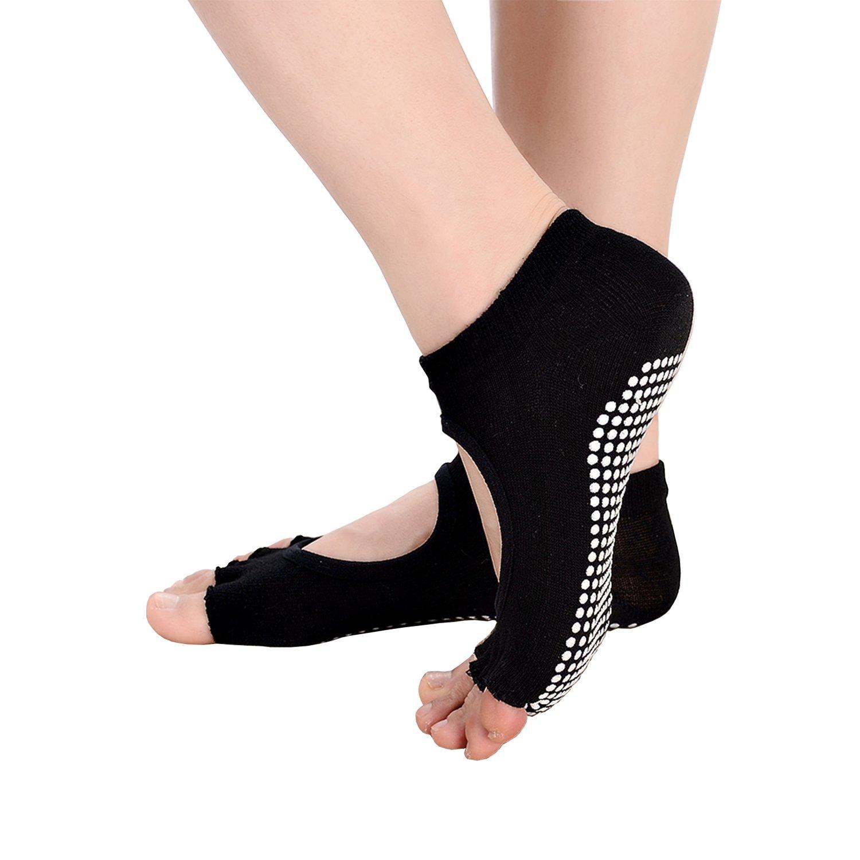 Free Bird 99 4 Pairs Women Low Rise Non Slip Yoga Toeless Socks