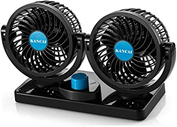 KanCai 12V ventilador de coche eléctrico de 360 grados rotativo 2 velocidad doble cabeza de ventilador de aire de circulación de aire del ventilador para camiones SUV RV barco de vehículos: Amazon.es: