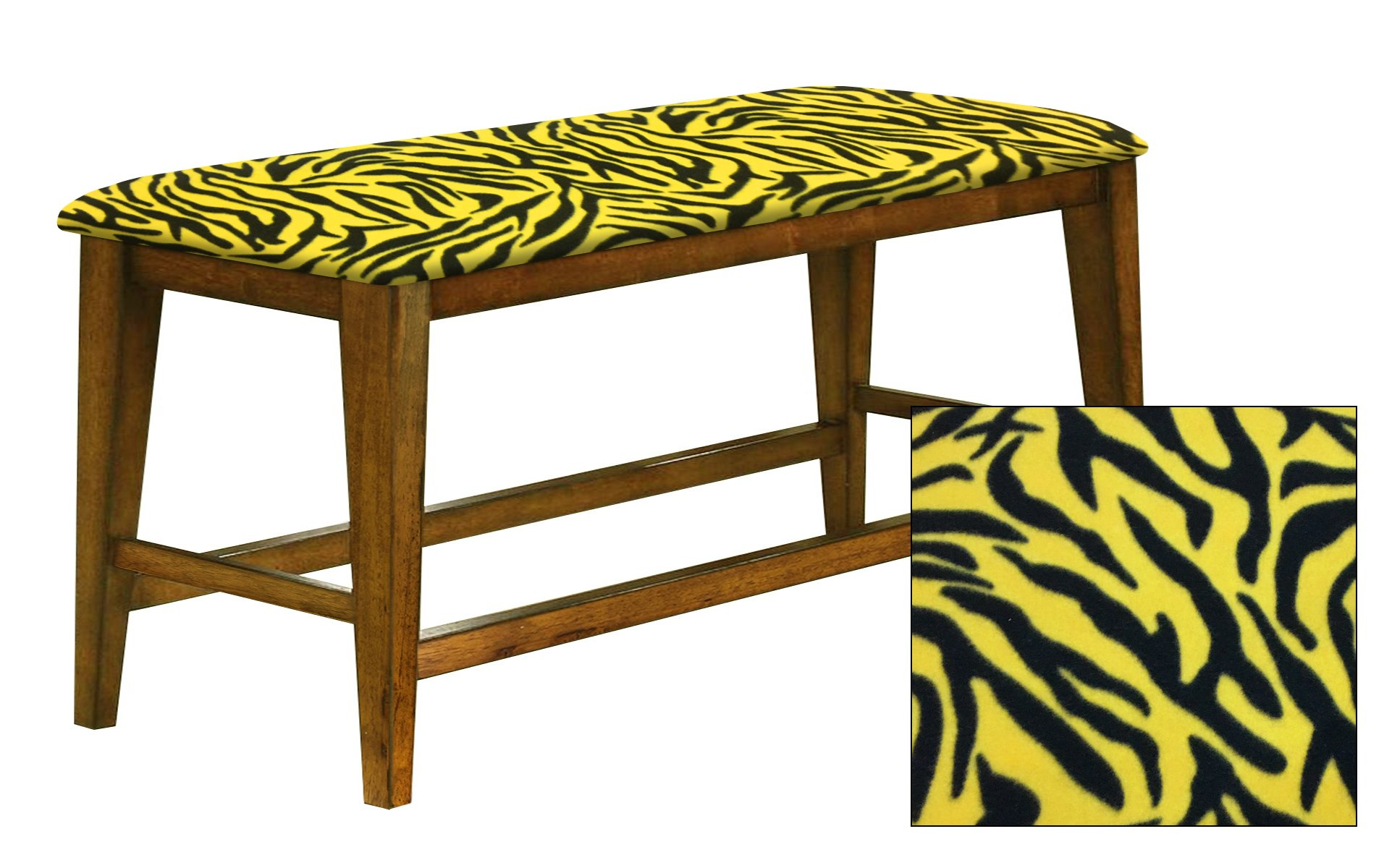 """Counter Height 25"""" Tall Universal Bench in an Oak Finish Featuring a Padded Seat Cushion With Your Choice of an Animal Print Fabric Covered Seat Cushion (Yellow Zebra Fleece)"""