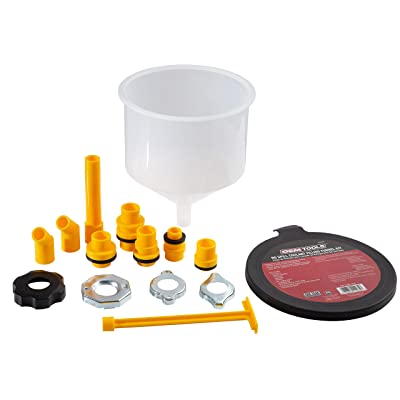 OEMTOOLS 87009 No-Spill Coolant Filling Plastic Funnel Kit | Universal Radiator Funnel for Auto Mechanics | Adapters Help Funnel Fit the Radiator of Most Every Consumer Vehicle | White: Automotive