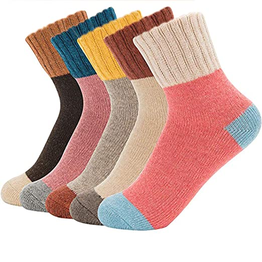 b9a38d835fc Womens Crew Socks Casual Comfy Wool Cotton Warm Boot Socks Assorted Color  (5 Pairs)
