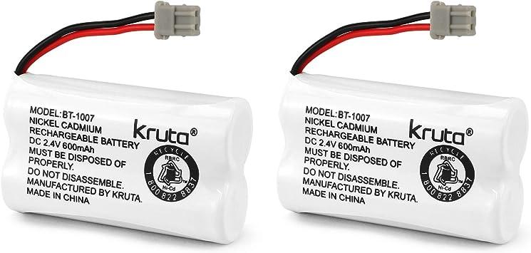 2 pack BT-1007 Kruta BT-1007 2.4V 600mah Cordless Phone Battery Compatible with Uniden BT1007 BT904 BT-904 BT1015 BT-1015 BBTY0651101 BBTY0460001 BBTY0510001 BBTY0624001 BBTY0700001 Panasonic HHR-P506 HHR-P506A