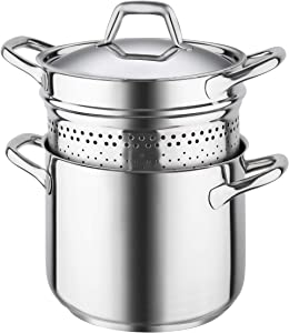 Barazzoni Chef Line Spaghettiere Pasta Cooker Pot, Diameter 22cm, 18/10 Stainless Steel Made in Italy.