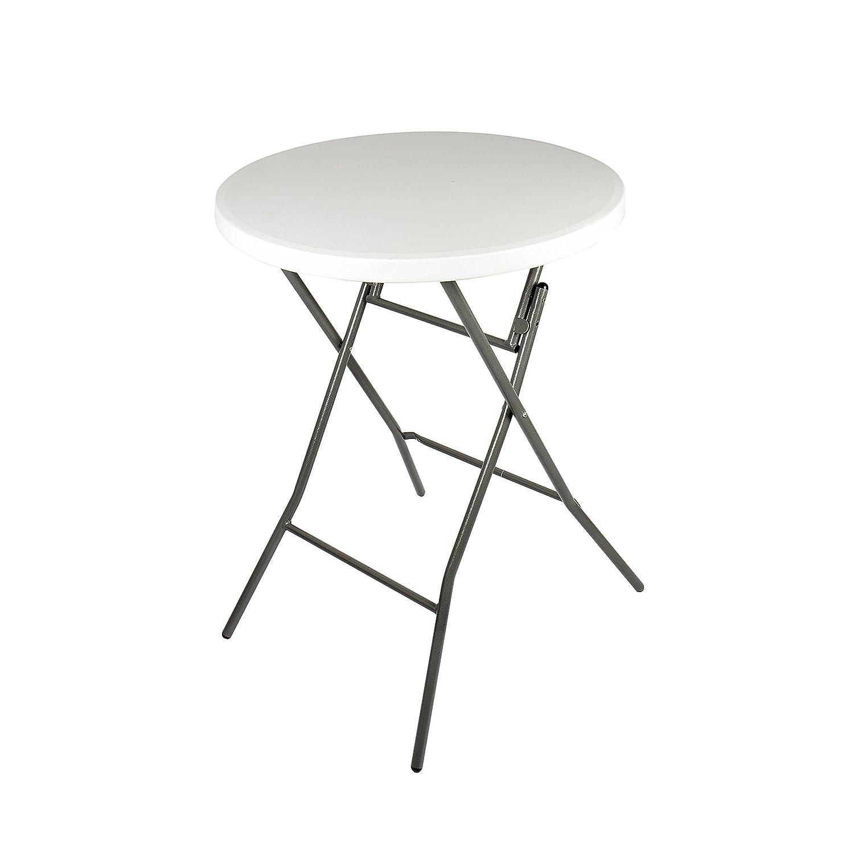 Vanage Tavolo Alto Pieghevole 80 x 80 x 74 cm/Tavolino Tondo da Giardino perfetto per Eventi o come Tavolo da Bistrot o Bar - Colore Bianco VG-4444
