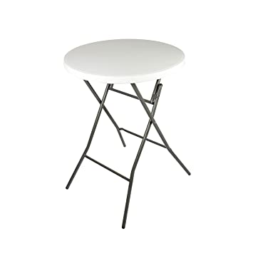 Vanage - Table haute pliante blanche - Table ronde pour Balcon ...