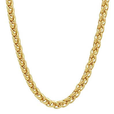 The Bling Factory 5mm 14k Gold Plated Wheat Chain + Microfiber Jewelry Polishing Cloth